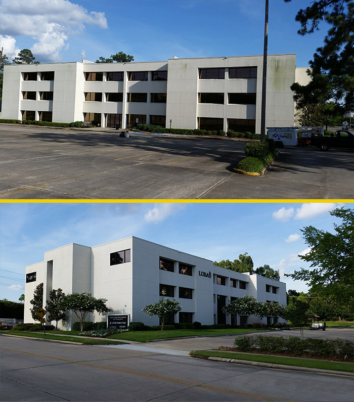 prime pressure washing and painting before and after office building pressure wash