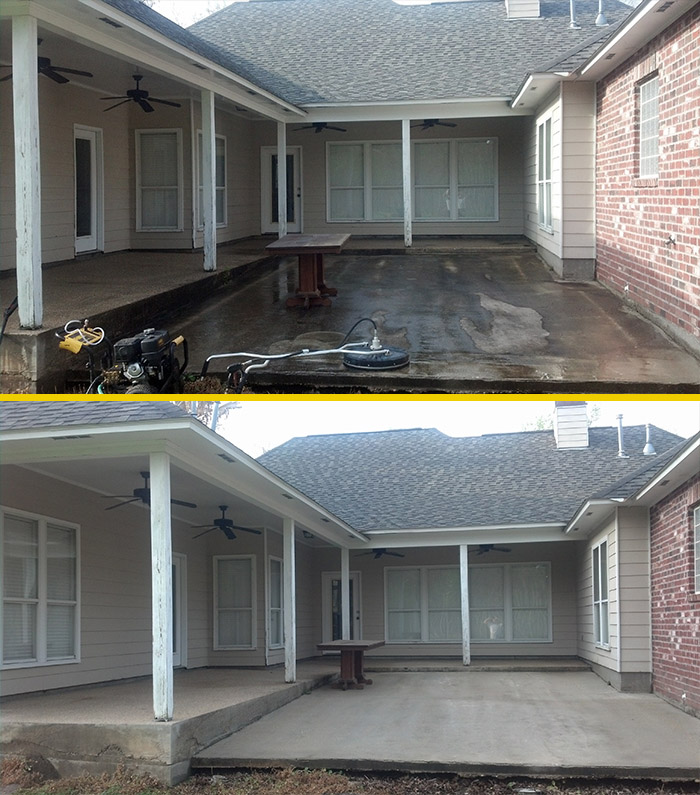 prime pressure washing and painting before and after image of pressure washed house
